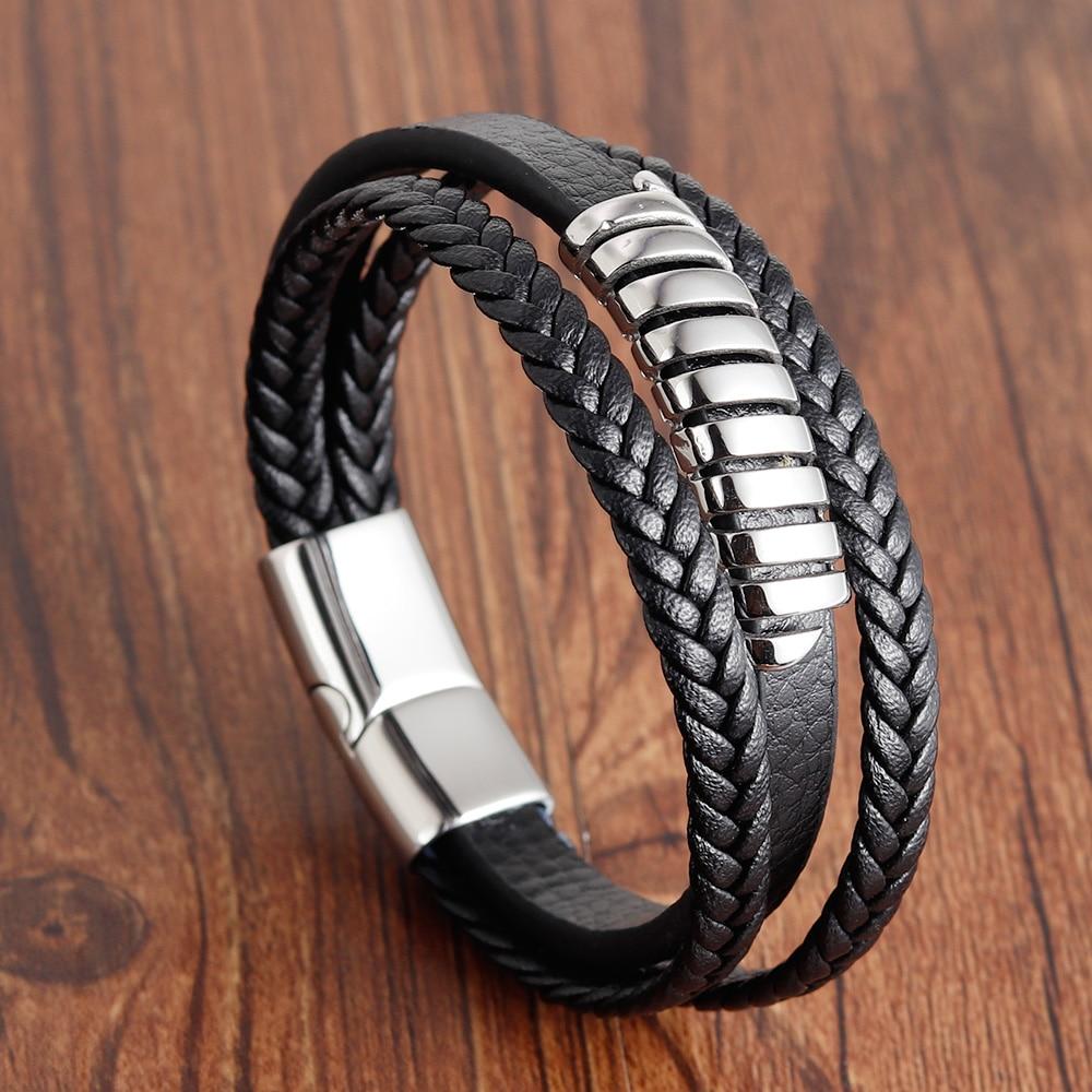2019 Fashion Stainless Steel Chain Genuine Leather Bracelet Men Vintage Male Braid Jewelry for Women Man Buddha Bracelet