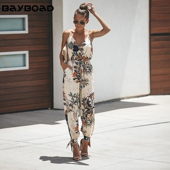 Bayboad 2019 New Floral Print Spaghetti Strap Side Split Spring Summer Holiday Jumpsuit plus size for Women Overalls Streetwear
