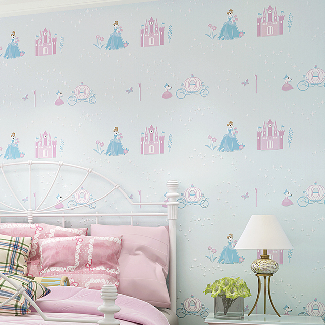 Pink Princess Room Nonwoven Wallpaper 3D Bedroom Wallpaper Girl Cute ...