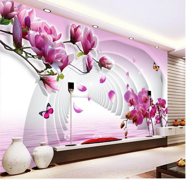 3d flower wallpaper custom photo wallpaper 3d stereoscopic magnolia 3d tv backdrop home decoration - Flower Wallpaper For Home