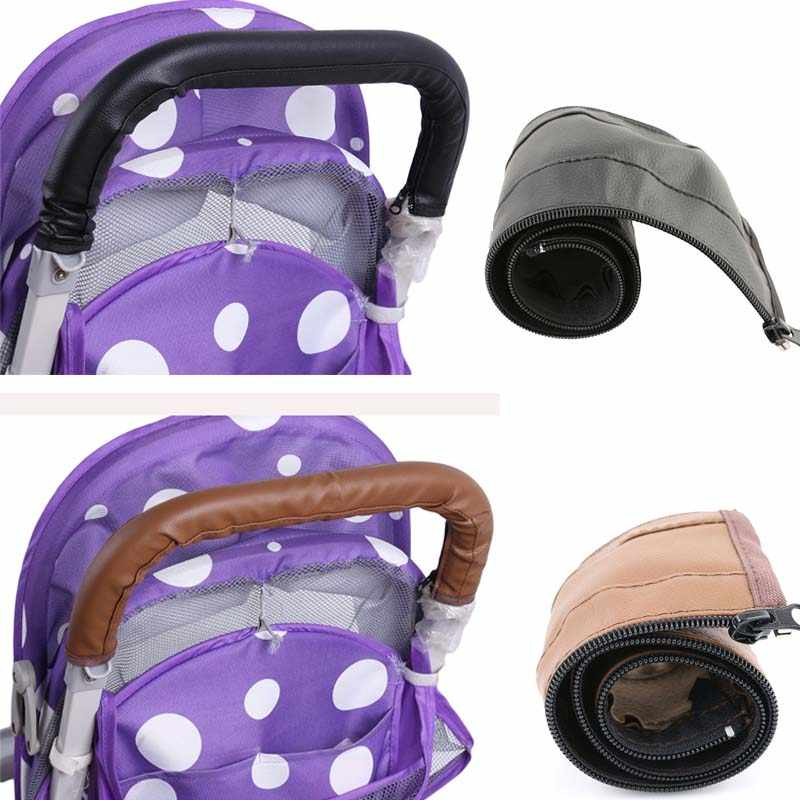 Baby Stroller Armrest Cover Case PU Leather Protective Cover Handle Wheelchairs Foldable And Washable Stroller Accessories