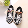girls princess faux leather shoes Rhinestone black school shoes flat casual comfortable foot wear flowers