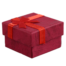24 Pcs Ring Earring Jewelry Display Gift Box Bowknot Square Case red