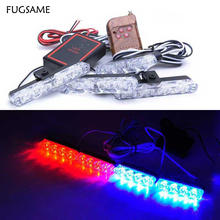 Wireless 4x4 16LED 16W High power Auto Emergency Warning Car driving LED Lamp daytime running caution light DRL Red blue strobe
