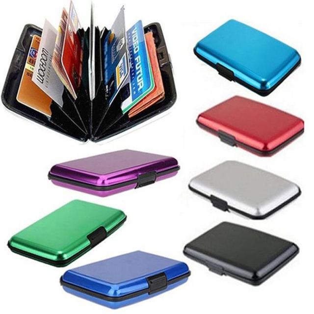 עמיד למים Rfid גברים נסיעות פלסטיק בעל כרטיס בעל כרטיס אשראי מזהה עסקי ארנק כרטיס מקרה בעל כרטיס מתכת מבריקה Box # Y