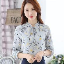 Printed chiffon shirt autumn new Korean loose thin long sleeved shirt blouse all-match