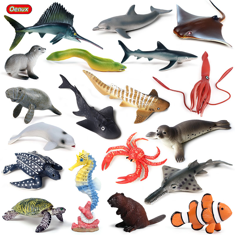 Oenux Sea Life Animals Dolphin Crab Shark Turtle Model Action Figures Figurines Ocean Marine Aquarium Miniature Education Toys