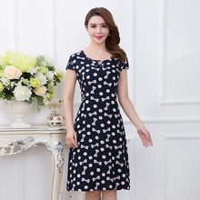 Cotton Dress Plus-Size Casual Women Short-Sleeves Vestidos Long Mid-Calf Print O-Neck