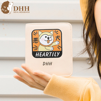 DHH 2019 The New Short Girl Purse 2 Fold Student Cute Cartoon Wallet Personality Lady Wallet