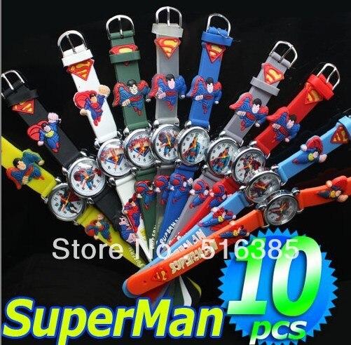 Prix pour Livraison gratuite montre Superman gros, Quartz enfants Cartoon 3D 10 pcs & Promotion enfants