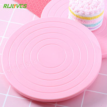 RLJLVIES 1Pc 14 cm Round Cake Turntable Plastic Pink Rotating Cake Stand Plate Baking Revolving Decoration Stand Platform(China)