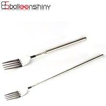 BalleenShiny BBQ Telescopic Extendable Fork Stainless Steel Dinner Fruit Dessert Long Bar Spoons Magic Kitchen