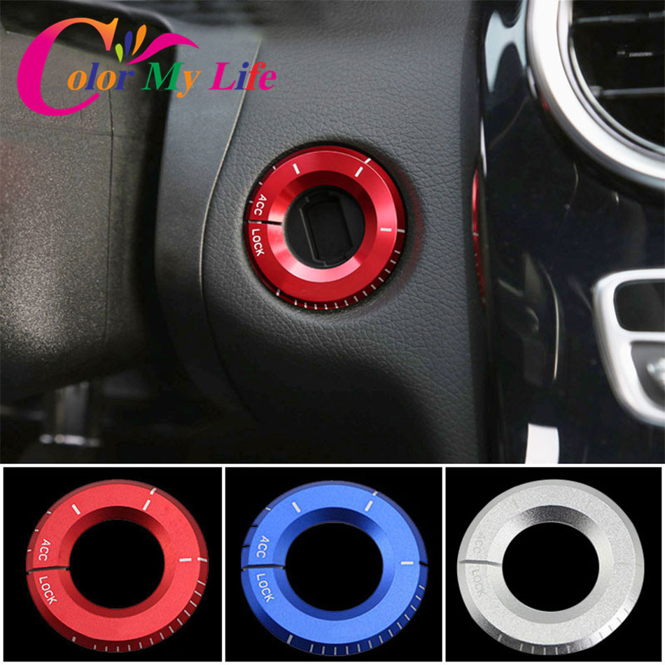 Color My Life Car Ignition Switch Trim Key Ring Hole Circle Stickers For Mercedes Benz A C Class GLA CLA GLC W205 W212 X253 C117