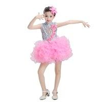 מודרני ילדים תלבושות ריקוד שמלת ריקוד טוטו בנות פאייטים ילדים בגדי תלבושות ריקוד ללבוש שלב סלסה סלסה