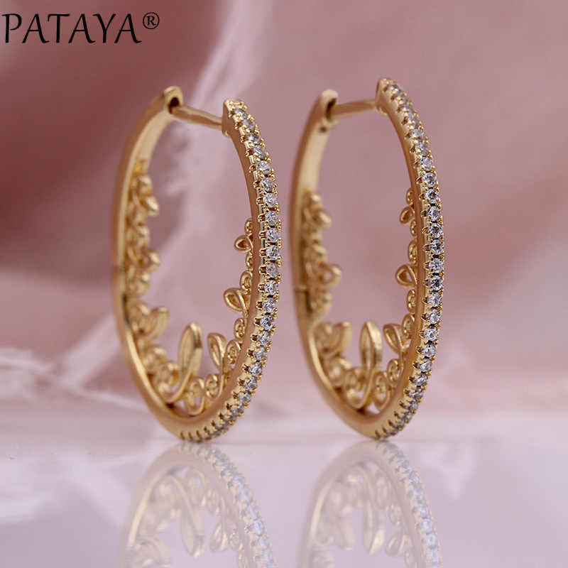 PATAYA New Hollow Lace Circle Drop Earrings Women Party Fine Fashion Jewelry 585 Rose Gold White Natural Zircon Wedding Earrings