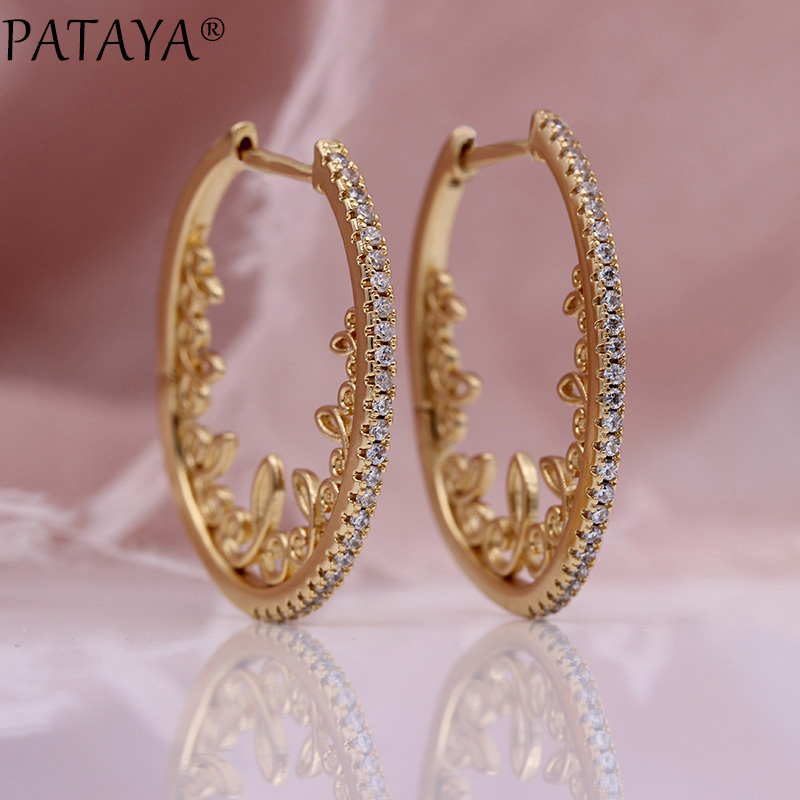 PATAYA New Hollow Lace Circle Drop Earrings Women Party Fine Fashion Jewelry 585 Rose Gold White Natural Zircon Wedding EarringsPATAYA New Hollow Lace Circle Drop Earrings Women Party Fine Fashion Jewelry 585 Rose Gold White Natural Zircon Wedding Earrings