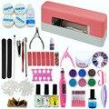 9W UV Gel Curing Dryer Lamp Pen-shaped Electric Nail Machine False French Tips Glitter Powders UV Nail Tools Kit Set