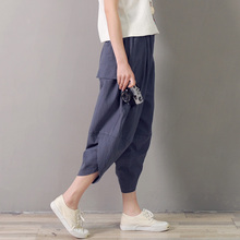 Vintage Ethnic Wide Leg Pants 2017 New Spring Summer Women Casual Loose Elastic Waist Cotton Linen Harem F58