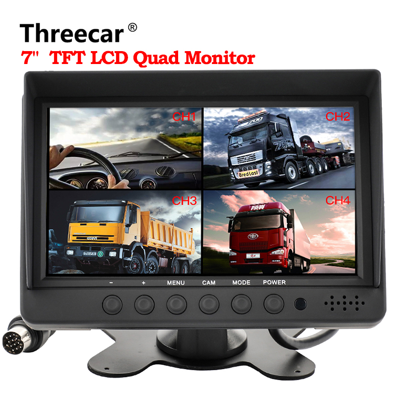 Newest 7 4 Split Screen Quad Monitor 4CH Video Input TFT LCD Display DC 12V for Reversing Camera System Car Rear view Monitor podofo 7 inch 4 split screen car monitor 4 channels tft lcd display dc 12v for reversing camera system car rearview monitor
