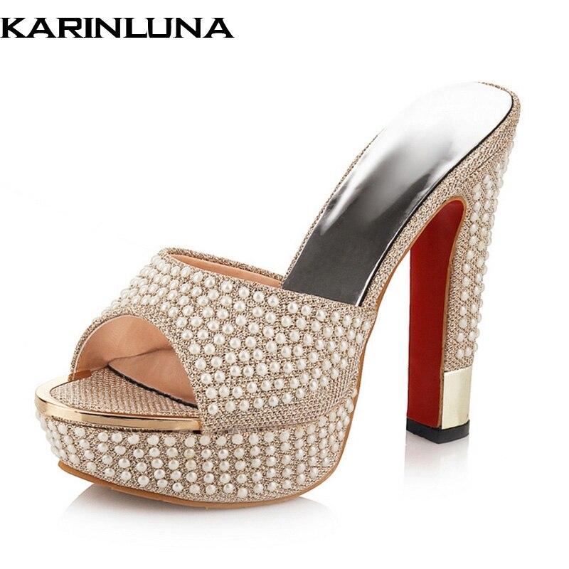 Karinluna Big Size 33-42 Best Quality Party Pearls Women Shoes High Heel Summer Platform Mules Pumps Sandals Shoes Woman