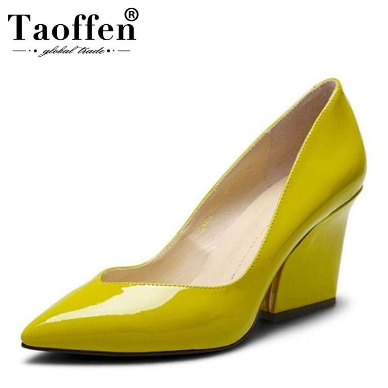 Femmes réel véritable cuir pointu orteil carré chaussures à talons hauts femme sexy dames de loisirs de mode à talons hauts chaussures taille 34- 39 R7159