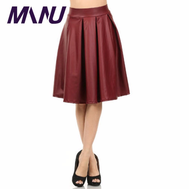 high waist pu faux leather pleated skirts 2016 7xl