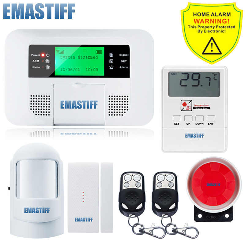 Free Shipping!Wireless GSM pstn Home security Alarm systems with LCD Menu Keyboard new Sensor alarm+Wireless Temperature sensor dual network russian spanish french wireless gsm pstn alarm system home security alarm systems with lcd keyboard without battery