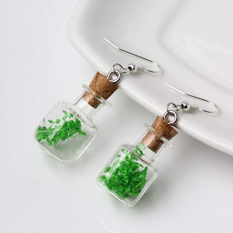 Square Shape Glass Wish Bottle Equipped with Bright Colors Hay Earrings Fashion Jewelry For Cute Girl