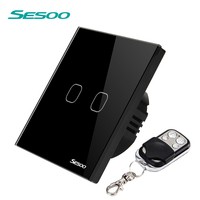 SESOO Remote Control Switch 2 Gang 1 Way Black
