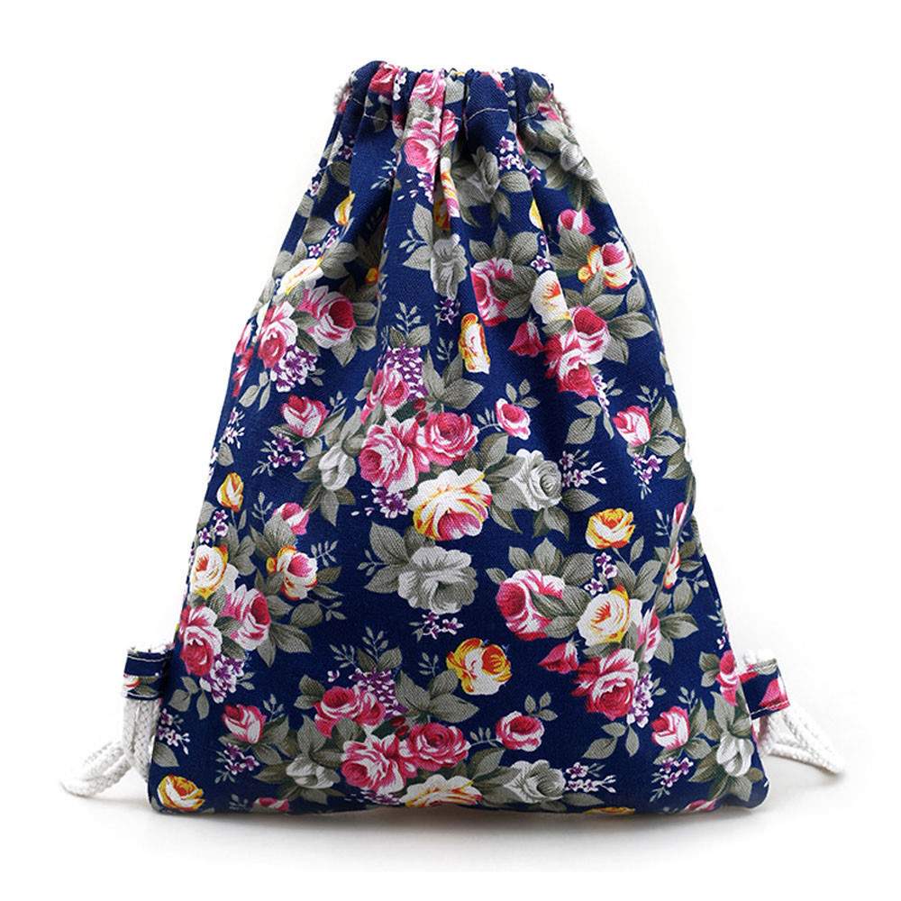 Fashion Portable Drawstring bags Girls Shoes Bags Women Cotton Travel Pouch Floral Canvas Backpack Fashion Drawstring