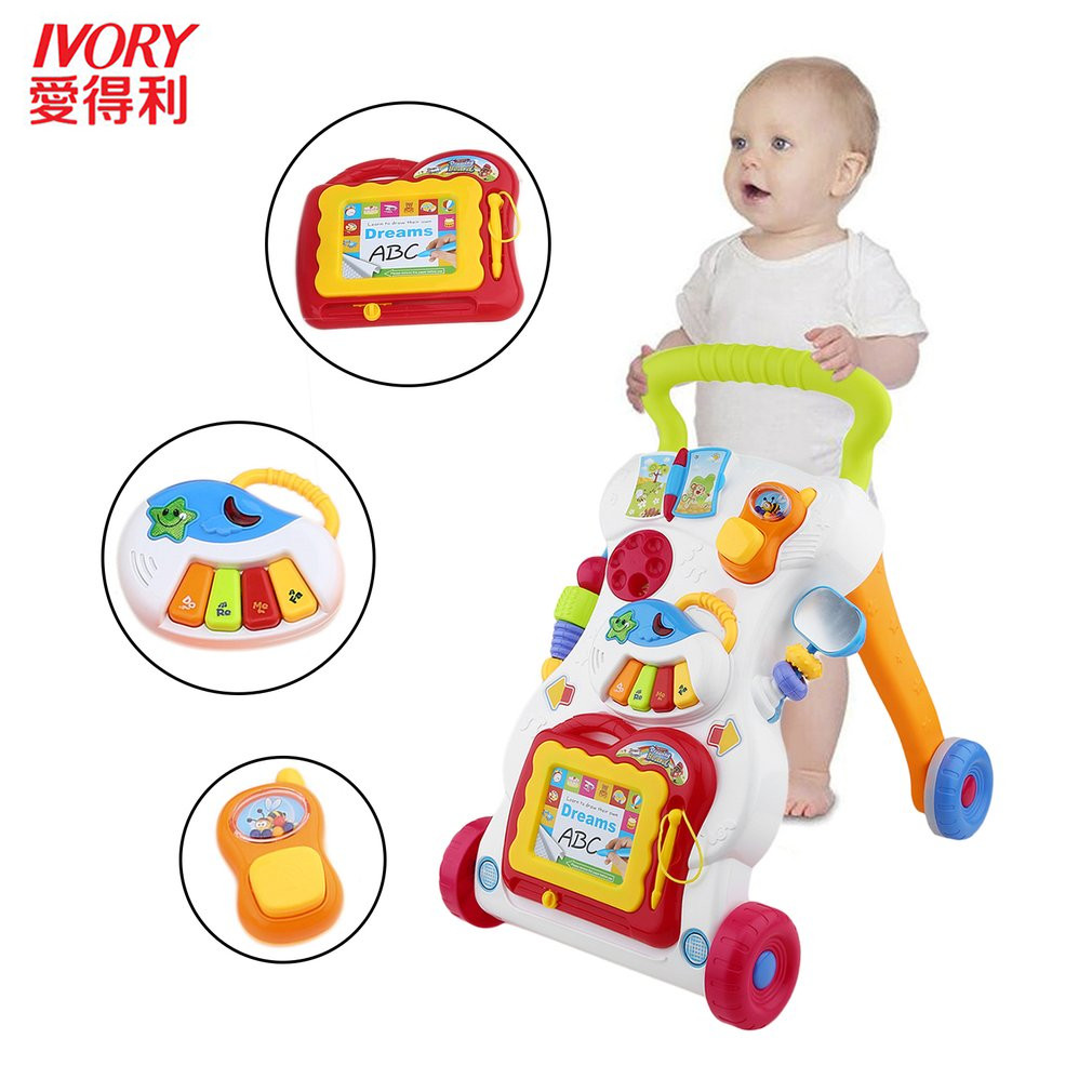 IVORY Baby First Steps Car Toddler Trolley Sit-to-Stand Walker For Kid Early Learning Educational Musical Adjustable Baby Walker