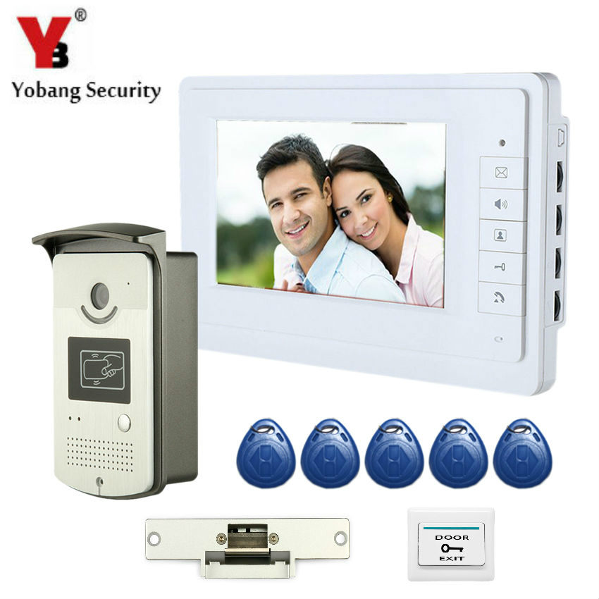 YobangSecurity Wired 7 Inch LCD Video Door Bell Phone Intercom RFID Card Access Control Home Gate Entry System With Door Lock 7 inch password id card video door phone home access control system wired video intercome door bell