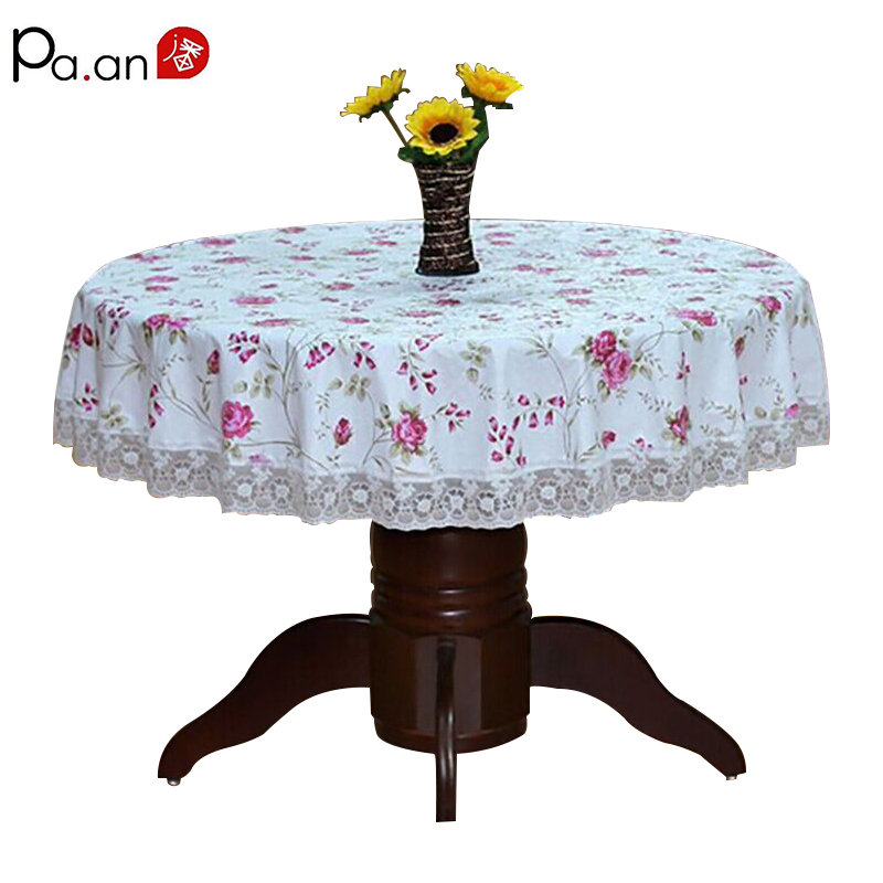 Pastoral Round Table Cloth Plast Vanntett Oljebestandig Borddeksel Blomstret Lace Edge Anti Hot Coffee Tea Bordduk