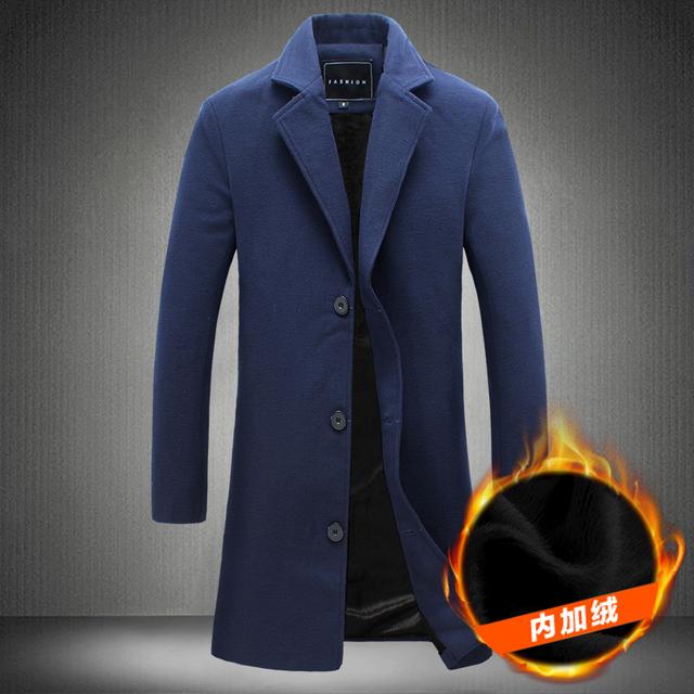 2016New Moda Longo Dos Homens Único Breasted Trench Coat Slim Fit dos homens Blusão de Lã grandes estaleiros Espessamento da Trincheira jaqueta