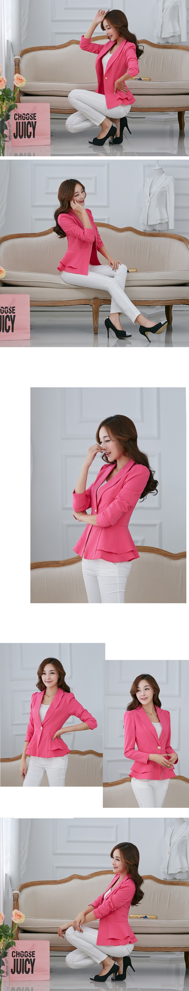 Plus Size Blazers And Jackets For Women Royal Blue Blazer Candy Color Slim Suit Flouncing Long-Sleeved Blazer (2)