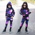 Conjunto de roupas meninos céu estrelado Punk adolescente conjunto de roupas crianças meninas de algodão roupas 2 pcs meninos conjunto de roupas crianças camisola