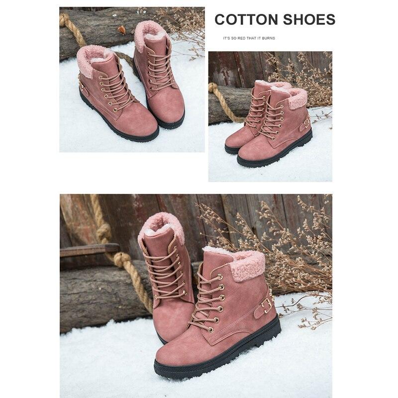 Shoebox Snow boots heels women winter boots warm fur plush Insole ankle boots women shoes hot lace-up shoes woman Shoe rack