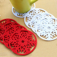 10pcs/lot Merry Christmas Decorations Snowflakes Cup Pad Mat Non-woven Fabric Dinner Party Dish Tray Coffee Pads Home