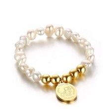 Mujeres perla real con acero inoxidable colgante de oro de la madre Mamá pulseras para las señoras Niñas regalo
