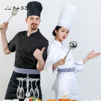 Unisex Short&Long Sleeve T shirt for Restaurant Baking Food Service Chef with Free Disposable Nonwovens Cap and Apron Pure Color