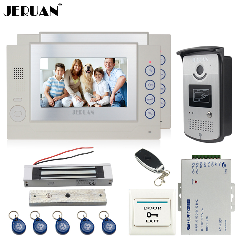 JERUAN 7 inch TFT color video door phone Record intercom system kit 2 monitors 700TVL RFID Access IR Night Vision COMS Camera jeruan wired 8 inch tft color screen video door phone record intercom system 4 monitor full metal ir night vision camera