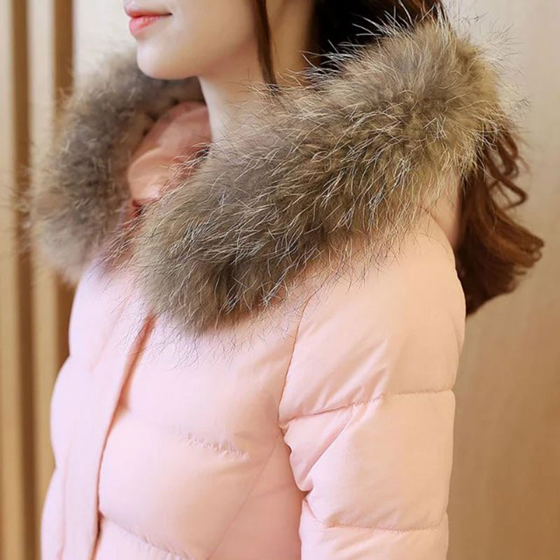 2016 Winter Coat Women Long Jacket Casual Parkas Solid Fur Collar Hooded Cotton Padded Women's Wadded Jackets Outerwear Tops