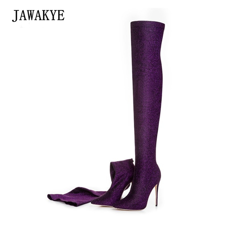 2017 Sexy High Heel Sock Boots Women Pointed Toe Sequined Stretch Over The Knee Boots Woman Newest Fashion Long Boots Ankle