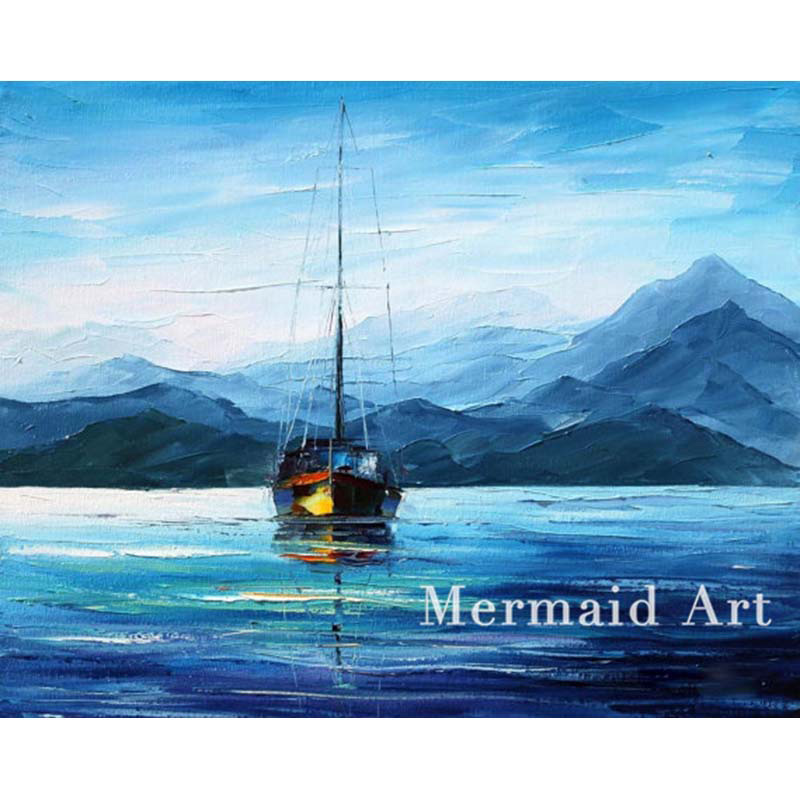 hand painted Modern Artwork of Landscape Fresh Morning Sea Palette knife thick Art canvens Oil Painting Wall Decor Fine Art