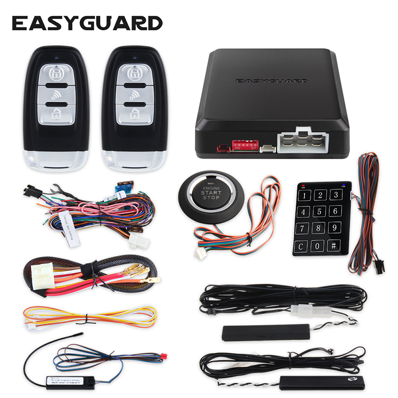 EASYGUARD PKE kit d'alarme de voiture système d'entrée sans clé avec démarrage à distance du moteur bouton poussoir démarrage tactile mot de passe entrée dc12v