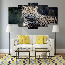 Modern Framework Wall Art Poster Home Decoration 5 Panel Animal Leopard Living Room HD Print Painting Modular Canvas Pictures
