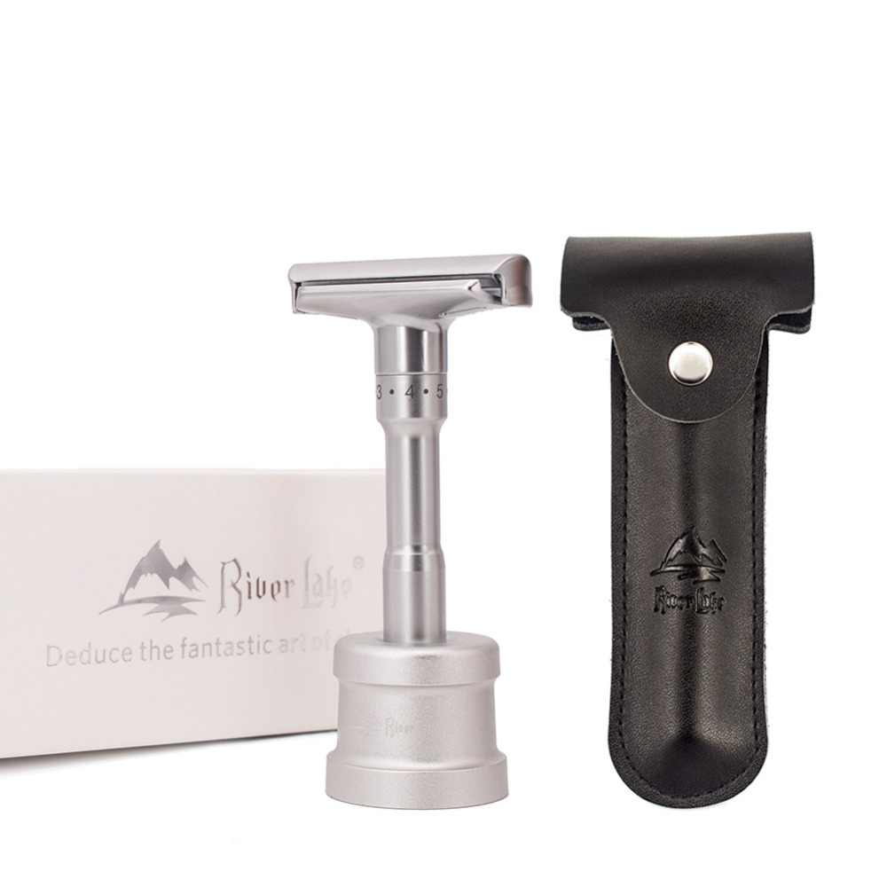 River Lake Manual Safety Razor Close Shaving Classic Double Edge  For Men Adjustable Double Edge Straight Shaving Knife