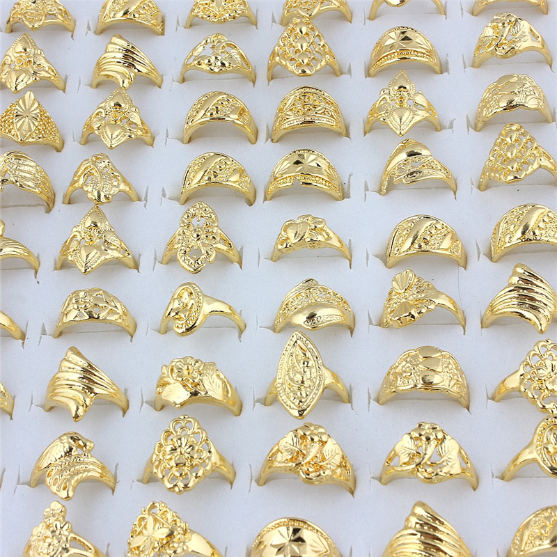 QianBei Wholesale 20pcs Mix Wedding Gold Color Rings Engagement Flower Ring Fashion Jewelry For Women Ring