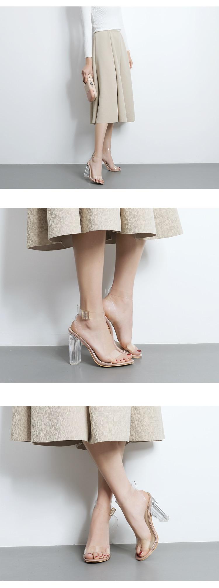 HTB1a88dXdfvK1RjSspoq6zfNpXaS Eilyken 2019 PVC Jelly Sandals Crystal Leopard Open Toed High Heels Women Transparent Heel Sandals Slippers Discount Pumps 11CM