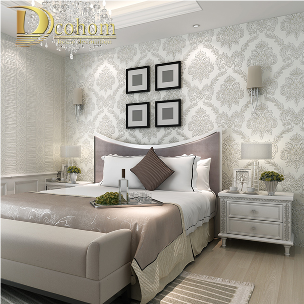 Damask Style Bedroom: Online Buy Wholesale Silver Damask Wallpaper From China